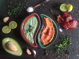 Avocado & Sun-Dried Tomato-Basil Hummuses (Pimp My Hummus Series)