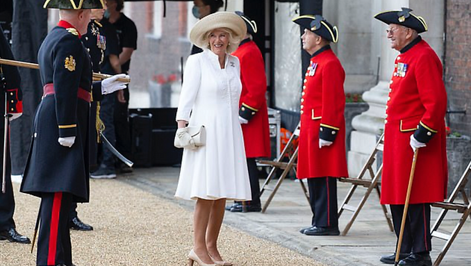 Duchess of Cornwall wears Fiona Clare -