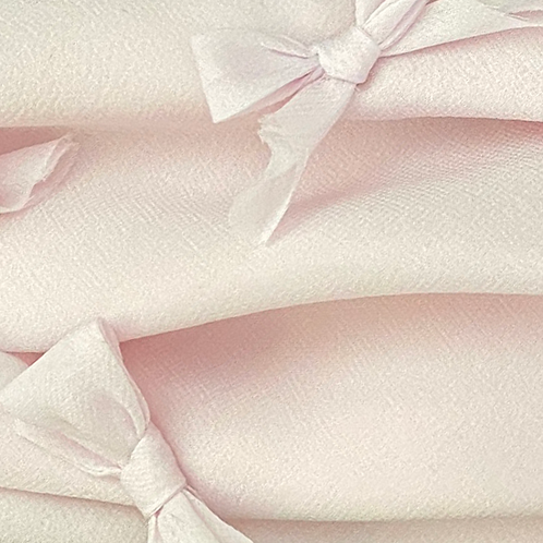 Pleated Silk Georgette Face Covering with Bows - Pale Pink