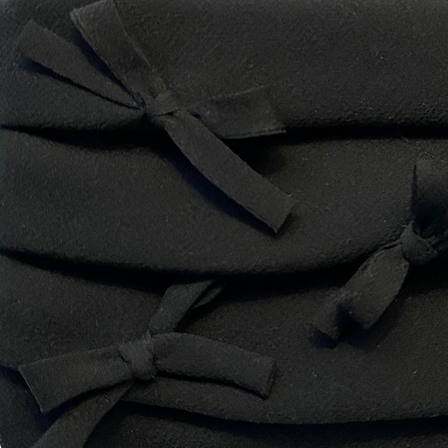 Pleated Silk Georgette Face Covering with Bows - Black