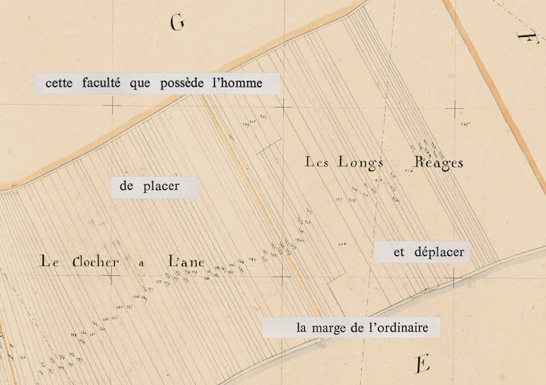 Mathilde Roux, Bords tracés 11, collage cadastre
