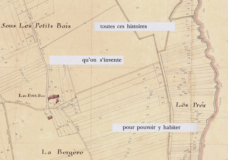 Mathilde Roux, Bords tracés 14, collage cadastre