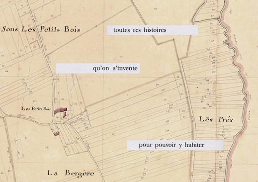 Mathilde Roux, Bords tracés 14, collage cadastre