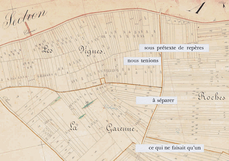 Mathilde Roux, Bords tracés 22, collage cadastre