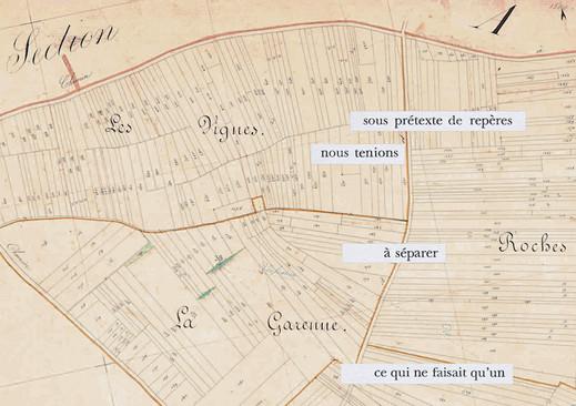 Mathilde Roux, Bords tracés 22, collage cadastre