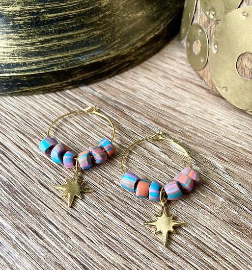 Bead & Star Hoop Earrings
