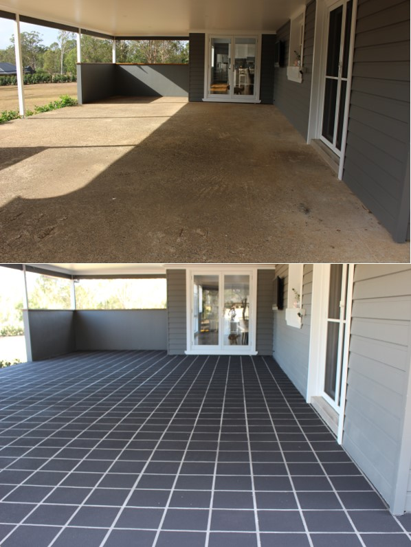 Stencilcrete and concrete sealer