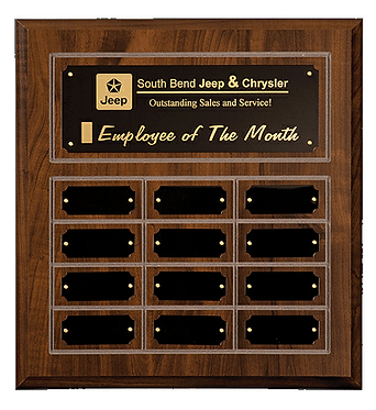 """12""""x12-1/2"""" Cherry Finish Grooved Perpetual Plaque"""