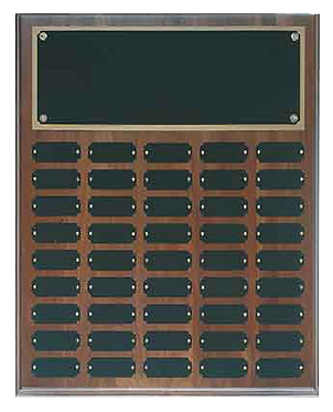 45 Plate Genuine Walnut Completed Perpetual Plaque