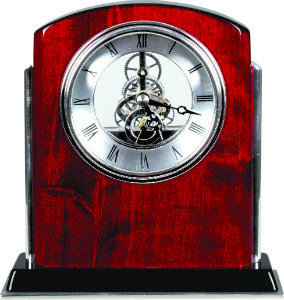 Rosewood Piano Finish Silver Side Arch Clock