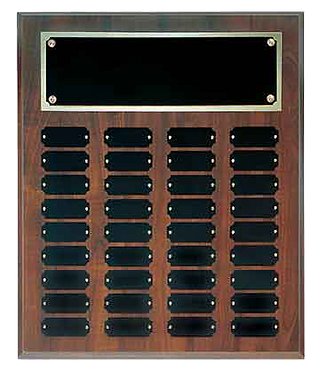36 Plate Cherry Finish Perpetual Plaque