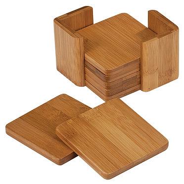 6 Piece Bamboo Coaster Set