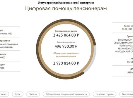 "Заявка на проект ""Цифровая помощь пенсионерам"""