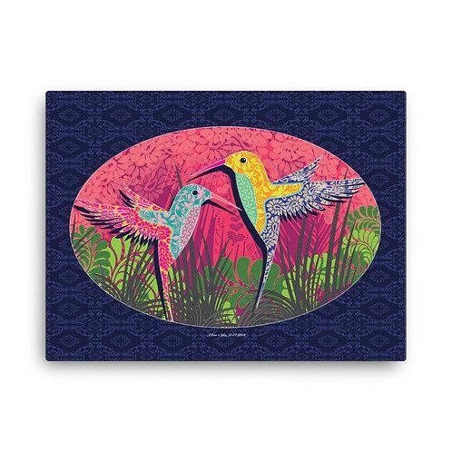 Personalized canvas print art / Wedding Hummingbird Blue