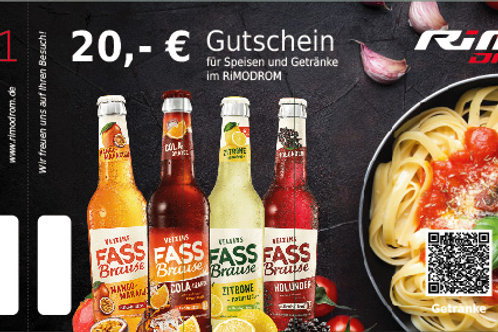 20,- € Gutschein für Speisen und Getränke