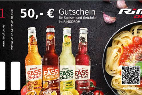 50,- € Gutschein für Speisen und Getränke