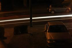 The bright white light trail