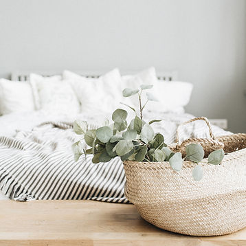Modern apartment interior design. Bed an