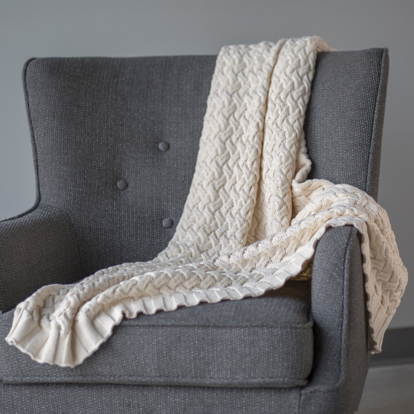 Weave natural throw