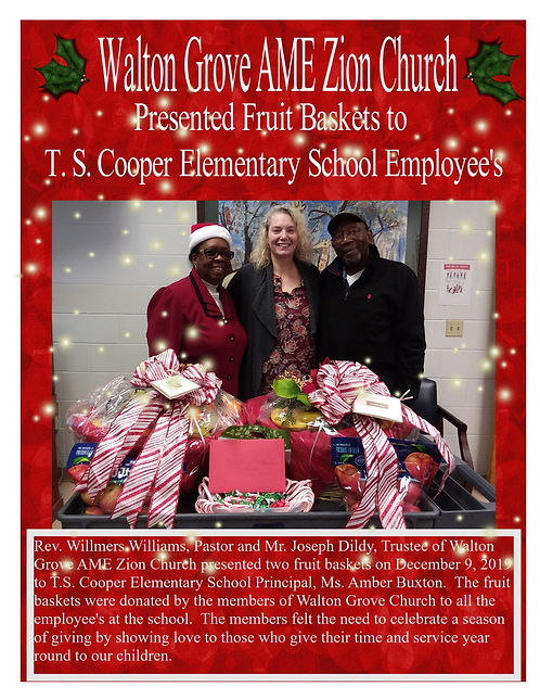 Donation Poster 2019 Rev. Williams and J
