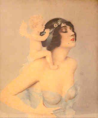 Alberto Vargas - Ziegfeld Girl with Angel