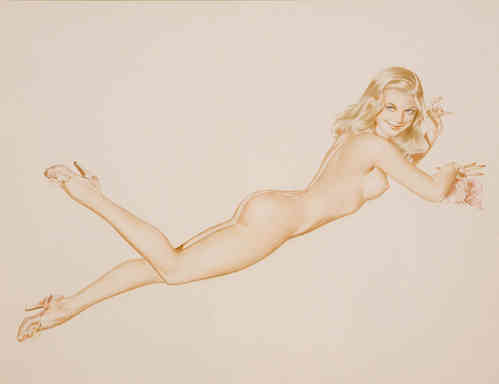 Alberto Vargas - Lounging Nude with Conch Shell