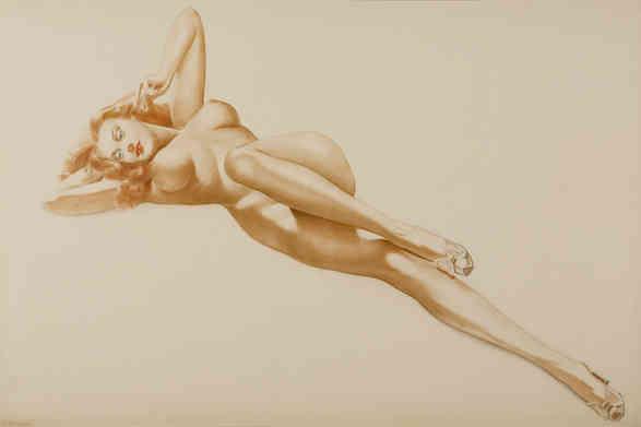 Alberto Vargas - Reclining nude, Prelim. drawing