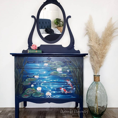 Koi pond scene dresser and mirror