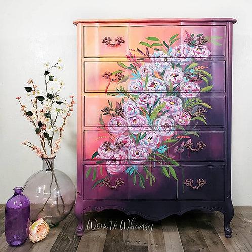 "'Candy"" hand painted flower dresser"