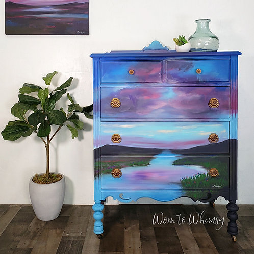 Mid Summers Night Hand Painted Dresser