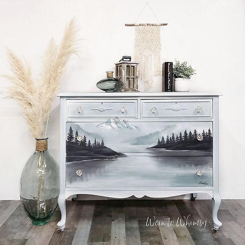 Hand Painted Winter Lake Scene
