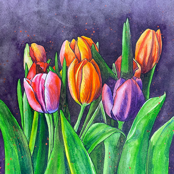 Paint Tulips in Watercolours