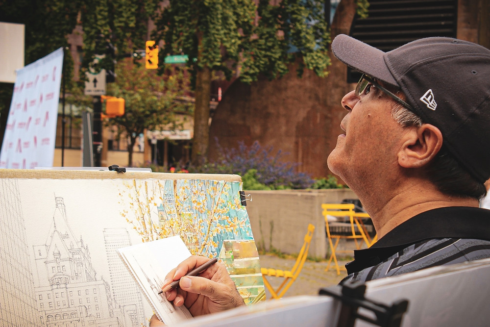 Mohammad Reza Atashzad painting live at Art Downtown Vancouver 2020