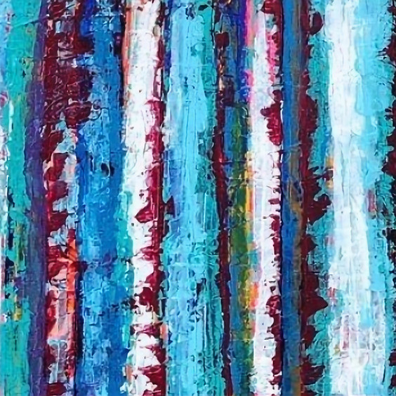 Abstract Trees Palette Knife Painting Art Class