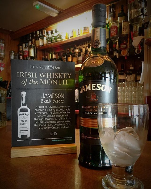 Irish whiskey of the month display