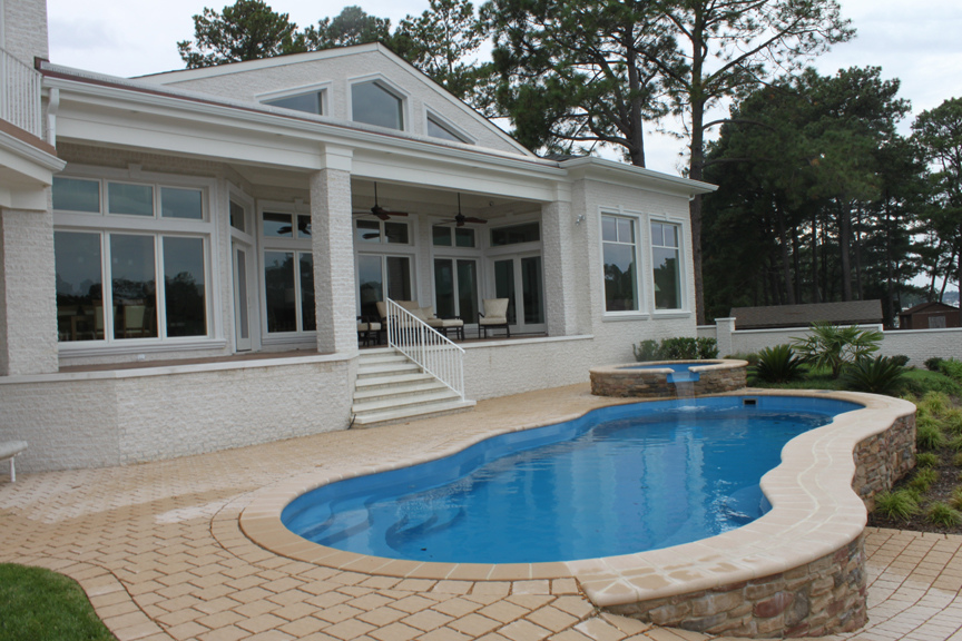Fiberglass pool and spa combo