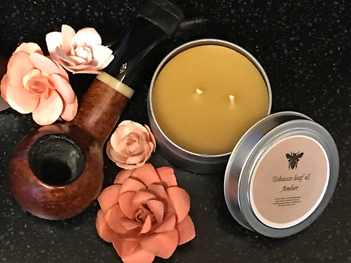 Tobacco Leaf & Amber Beeswax Candle