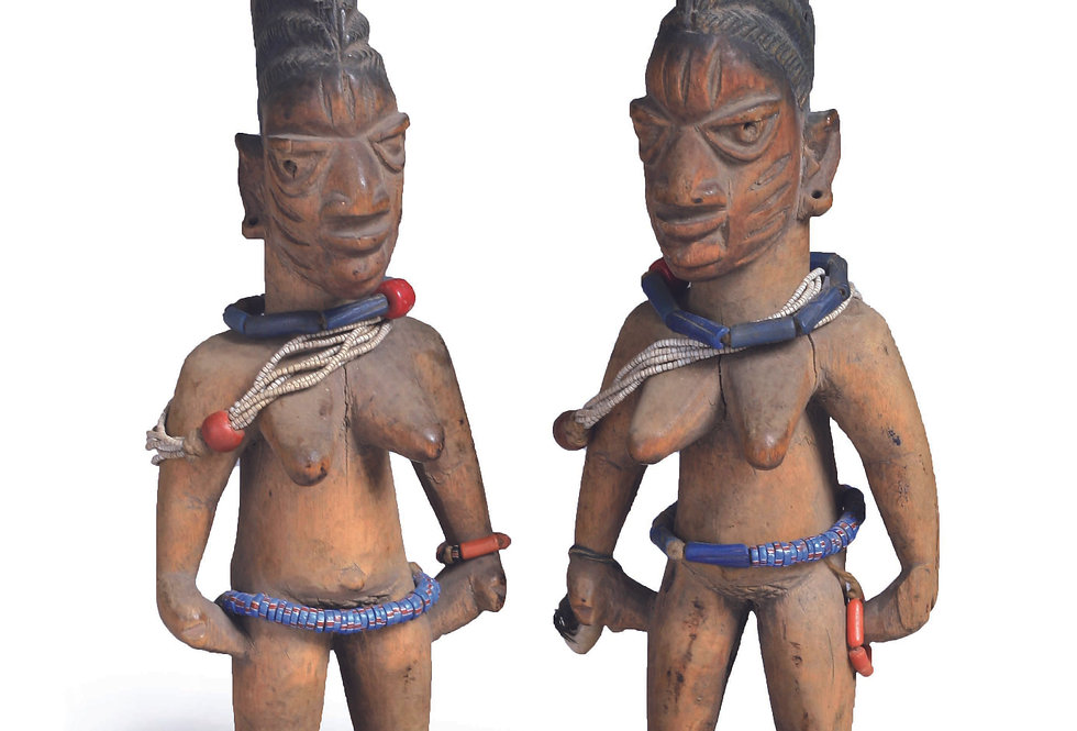 PAIR OF IBEJI FEMALE & FEMALE IGBO ORA