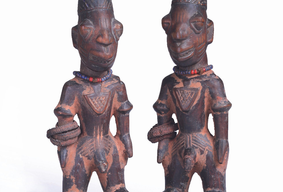 PAIR OF IBEJI MALES AJASSE