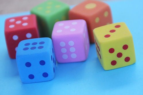 Coloured Eraser Dice (Set of 3)