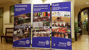 Rotary Club of Bendigo banners at the Easter Art Show