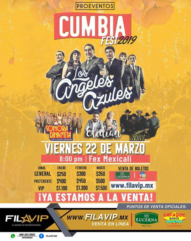 """⏩ LOS ÁNGELES AZULES + SONORA DINAMITA DE """"LUCHO ARGAIN"""" CUMBIAFEST 🔴 22 MARZO 2019 🔴 ME"""