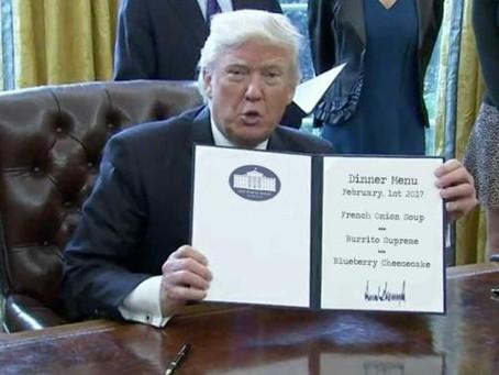 Trump dekretiert irrtümlich Speisekarte