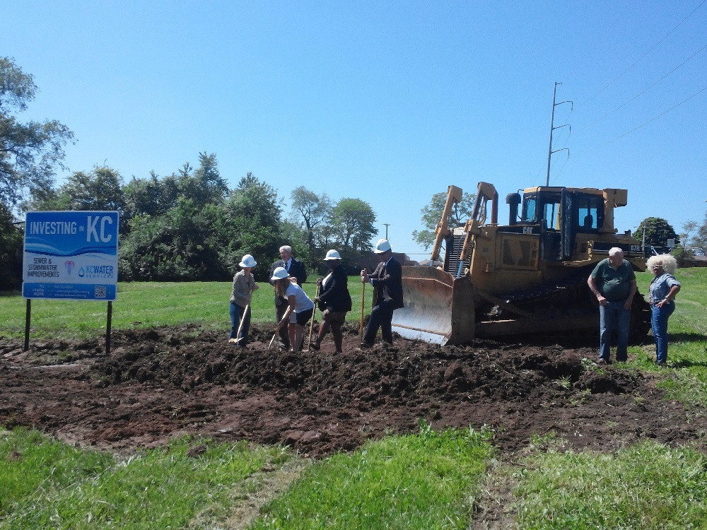 Many partners gathered in May to break ground at 81st and Troost where KC Water Services will begin installing a stormwater detention basin. Pictured, left to right are: Jill Erickson, Heartland Conservation Alliance; Terry Leeds, KC Water Services Director; Cindy Circo, former KC City Council; Alissia Canady, 5th District City Council; and to the far right, Brenda Thomas, Marlborough Community Coalition President.