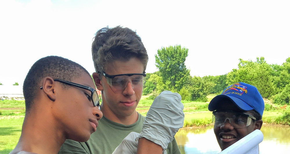BoysGrow tested water samples from their farm pond for chemical indicators of water quality from Blue River Watershed Association. Photo by Caitlin Dix