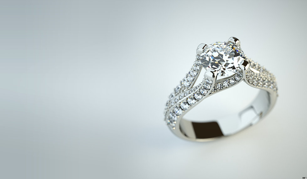 High resolution photorealistic ring rendering with diamonds