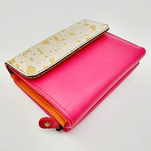 Portefeuille Fushia Doré (cuir intérieur multi couleurs)