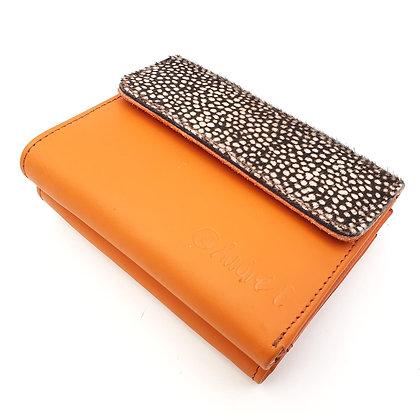 Portefeuille Orange Mini Pois Blanc (cuir intérieur multi couleurs)