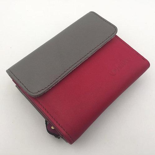 Portefeuille Fushia Gris (cuir couleurs multiples)