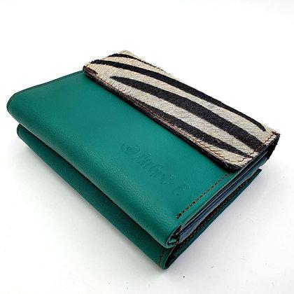 Portefeuille Vert Zébré (cuir intérieur multi couleurs)